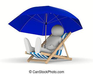 deckchair, imagen, aislado, fondo., blanco, parasol, 3d