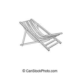 Deckchair outline drawing. Deck chair sketch. Summer holiday beach resort symbol