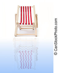 Deckchair - Red deckchair reflecting into water