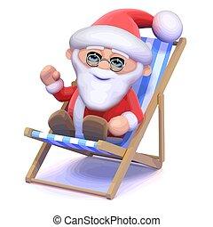 deckchair, santa claus, 3d