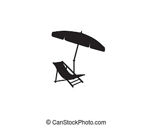 Deckchair umbrella summer beach holiday symbol silhouette icon. Chaise longue, parasol isolated. Sunbath beach resort symbol of the holidays