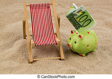 deckchair with euro banknote - deckchair with euro currency...