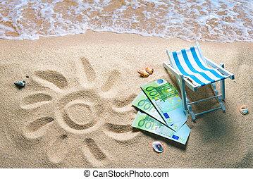 Deckchair with euro bills on a beach with a sun drawn on the sand