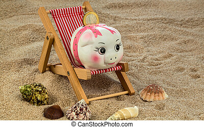 deckchair with piggy bank and euro - deckchair with euro...