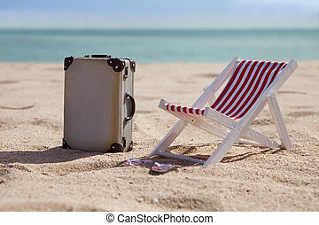 Deckchair With Suitcase - Miniature Deckchair With Suitcase...