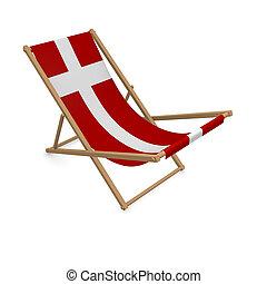 Deckchair with the flag or Denmark