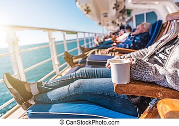 Deckchairs Cruise Ship Relax. Cruise Guest Relaxing in the...