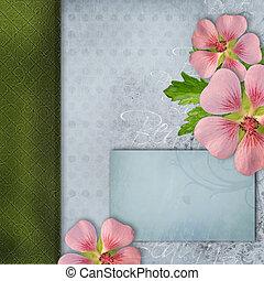 decke, für, album, mit, blumengebinde, von, rosa blüten