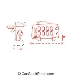 decked, pointillé, double, parcours, ligne autobus