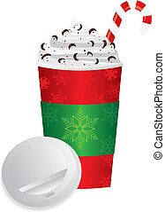 deckel, becher, getränk, expresso, abbildung, gehen, weihnachten