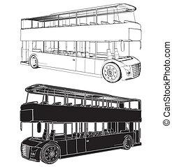 decker, autobús, doble