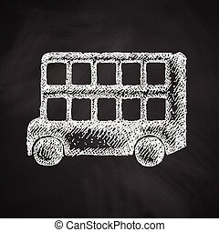 decker, autobus, doppio, icona
