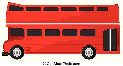 decker, autobus, illustrazione, doppio