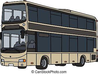 decker, beige, doppio, autobus