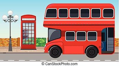 decker, città, londra, autobus, doppio