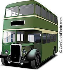 decker, doble, verde, autobús