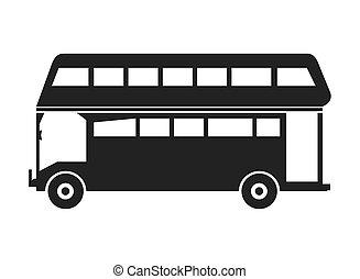 decker, doppio, autobus, icona