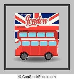 decker doppio, bandiera, londra, rosso, autobus, trasporto pubblico