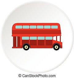 decker, doppio, cerchio, autobus, icona