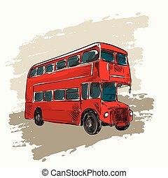 decker, doppio, classico, rosso, autobus