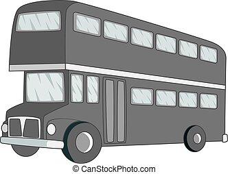 decker, doppio, icona, autobus, monocromatico