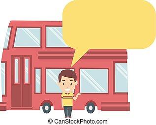 decker, doppio, illustrazione uomo, autobus