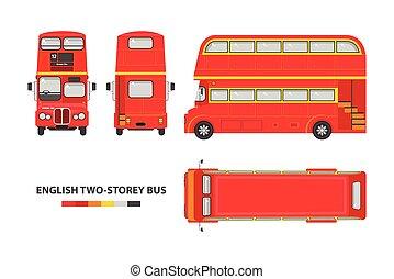 decker, doppio, inglese, rosso, autobus