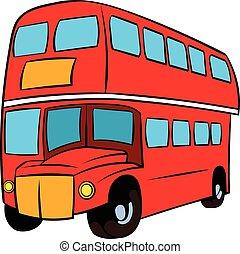 decker doppio, londra, autobus, cartone animato, rosso, icona