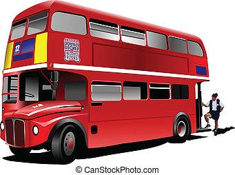 decker doppio, londra, vec, bus., rosso