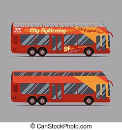 decker, doppio, rosso, autobus