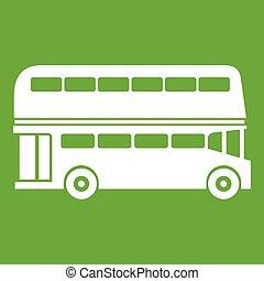 decker, doppio, verde, autobus, icona