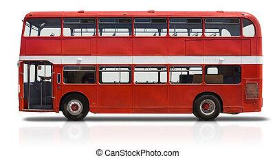 decker, double, blanc rouge, autobus