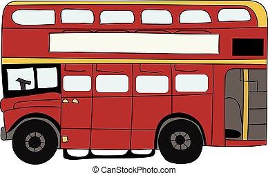 decker, double, britannique, rouges, autobus