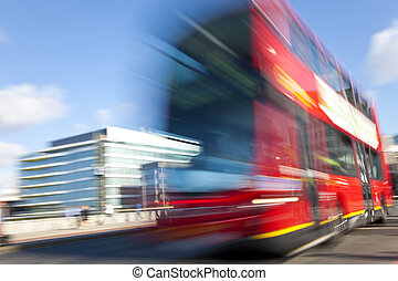 decker, double, mouvement brouillé, londres, autobus, rouges