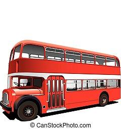 decker, double, rouges, autobus