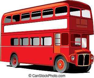 decker, megkettőz, london, autóbusz