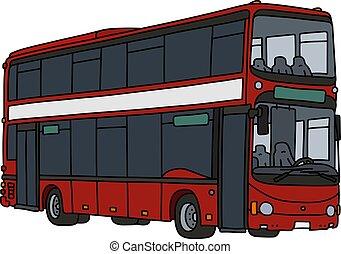 decker, rosso, doppio, autobus