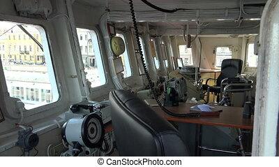 Deckhouse gun battle warship. Shot in 4K (ultra-high...