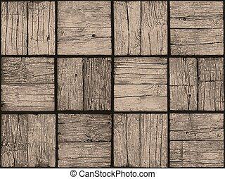 decking., 外気に当って変化した, デジタル, seamless, ベクトル, eps8, 寄せ木張りの床, タイル, 代表