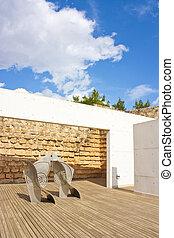 decking, moderno, scultura, zona