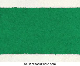 deckled, bryn, på, grön, papper