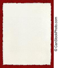 deckled, papper, med, röd gräns