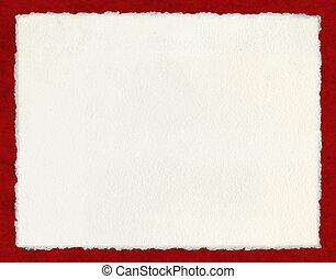 deckled, papper, på, röd