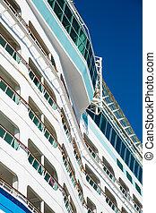 Decks and balconies of white luxury cruise ship