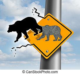 declínio, urso, mercado