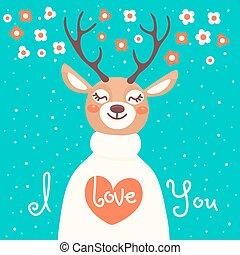 declaração, Amor, veado, cartão,  Valentine