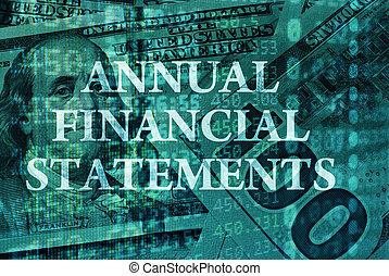 declarações, financeiro, anual