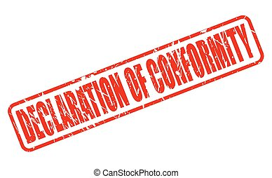 DECLARATION OF CONFORMITY red stamp text on white