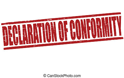 Stamp with text declaration of conformity inside, vector illustration