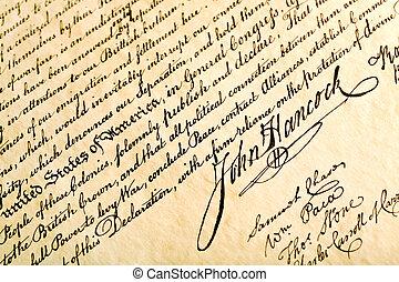 Declaration of Independence closeup with focus on signature of John Hancock